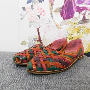 Vintage Rainbow Leather Woven Flats